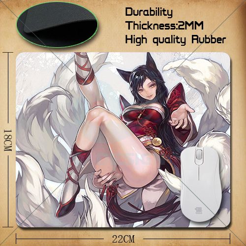pad mouse lol cute ahri league of legends gaming mouse pad large cheapest computer mouse mat gamer 220*180*2mm free shipping(China (Mainland))