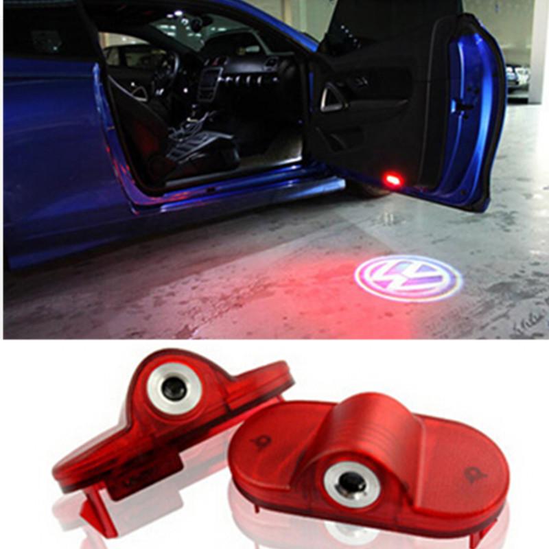 Car LED Door Warning Light With For VW Logo Projector For VW golf 4 mk4 touran caddy mk4 bora Beatles(China (Mainland))