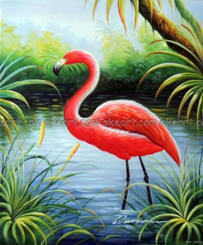 100% hand painted Flamingo Pink Bird Florida Everglades Bayou Swamp decoration Oil Painting free shipping High quality(China (Mainland))