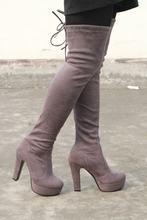 NEMAONE Artı boyutu 34-43 yeni moda platformu diz çizmeler üzerinde yüksek topuklu yuvarlak ayak uyluk yüksek çizmeler ilkbahar sonbahar kadın çizmeler(China)