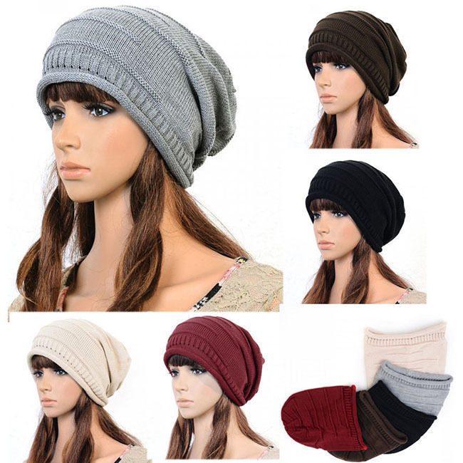 Мужская круглая шапочка без полей Crochet Ski Slouch Cap Hat 5 4054 unisex winter plicate baggy beanie knit crochet ski hat cap red
