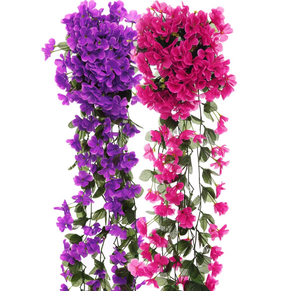 Violet Artificial Flowers DIY Door Lintel Mirror Flower Vine Artificial Green Plant Silk Fake Flower For Wedding Home Decoration(China (Mainland))
