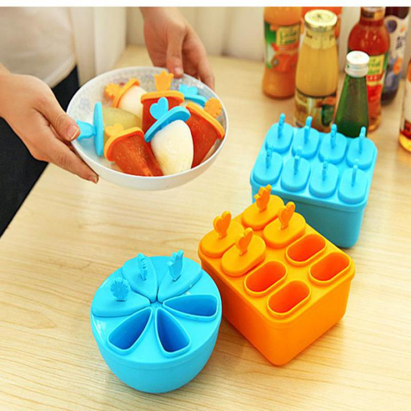 1pcs Ice Cube Popsicle Mold Plastic Popsicle Molds Wooden Ice Cream Sticks Popsicle Molds Ice Lolly Molds Refrigeration Tool(China (Mainland))
