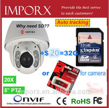 2.0 Megapixels 20X Optical alarm auto tracking function audio in/output ptz camera 1080p