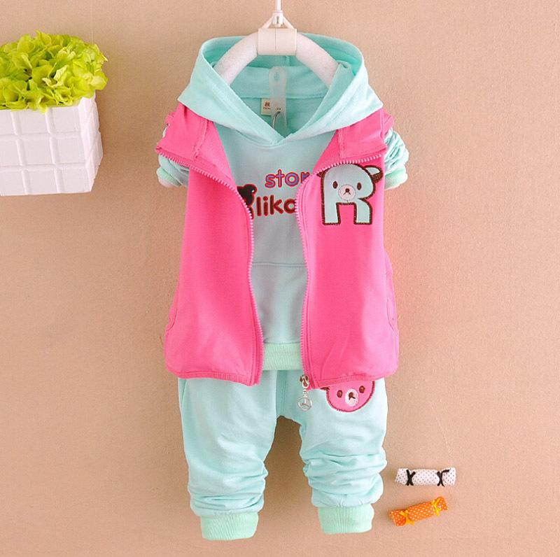 Kids Embroidered Suit 2015 Baby girl Cartoon Clothing Set Long sleeve Vest Korean Fashion Clothing Zipper Kids Embroidered Suit(China (Mainland))