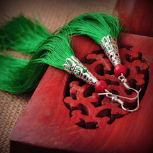 2015 Women chinese Ethnic long tassel Earrings Green Embroidery Fringe Handmade bell-shaped National Jewelry elegant accessories(China (Mainland))