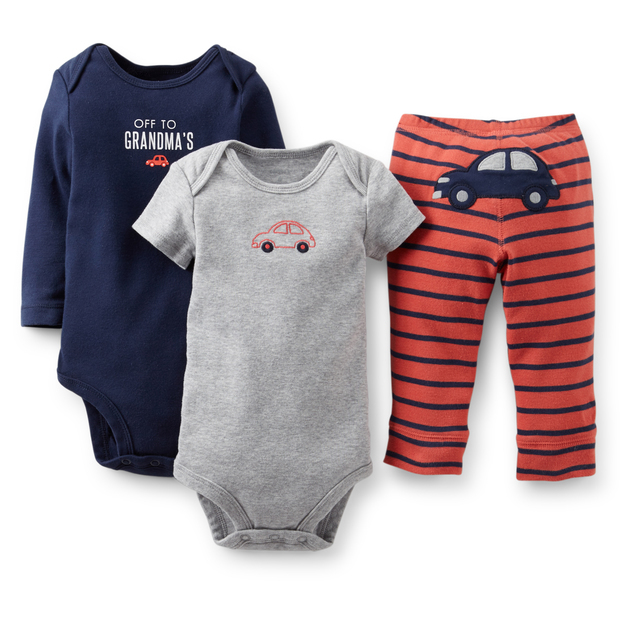 BSLL3-024, Original, New Collection, Baby Boys 3-Piece Set, With 2-Piece Bodysuits and 1-Piece Pants, Free Shipping(China (Mainland))