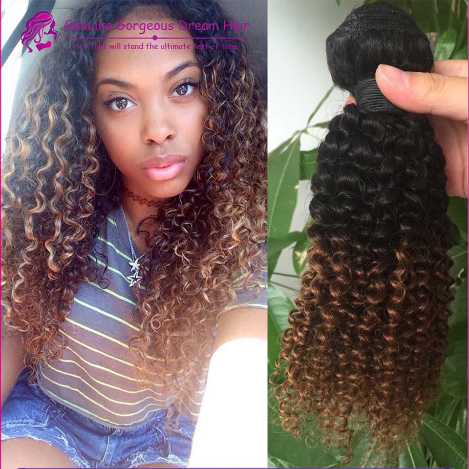 3Pcs Peruvian Ombre Kinky Curly Hair Weave Two Tones Color Peruvian Virgin Human Curly 1b 30 Peruvian Hair DHL Ship<br><br>Aliexpress