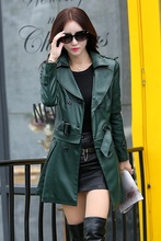 Leather Jacket Women Top Fashion New Plus Size Slim Dual Use Pu Removable Ladies Faux Synthetic Long Leather Trench Coat Female(China (Mainland))