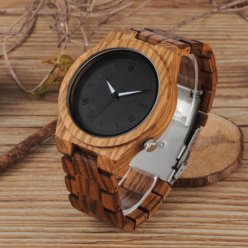 Zebra Wood Strap Wristwatch Wooden Strap Quartz Watches Gifts relogio masculino C-M30 (6)