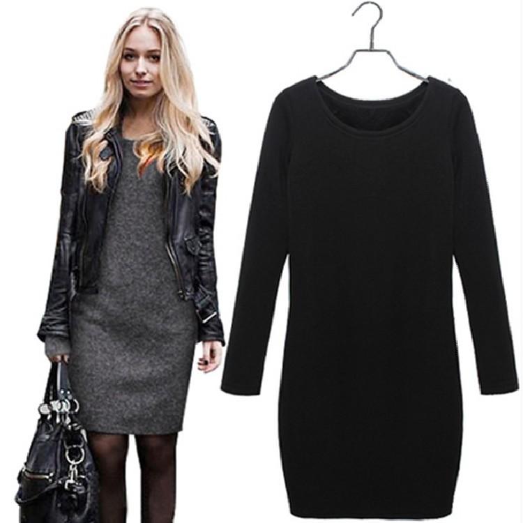 Long sleeve mini dress plus size