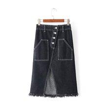 Before spring and summer women's casual, wild high waist Slim split zipper button pocket denim skirts
