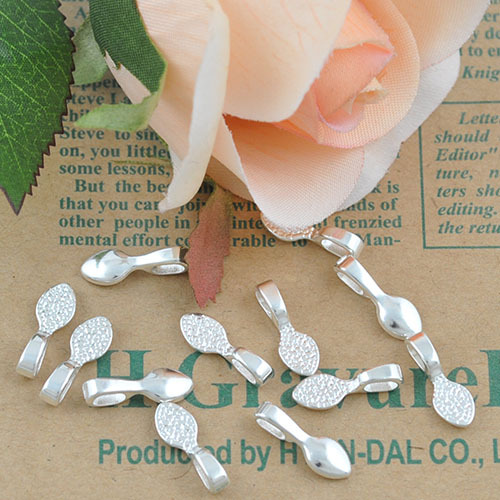 Sterling Silver Plated water-drop Glue on Bails, Shiny Silver Bails for Glass Tile Pendants Making<br><br>Aliexpress