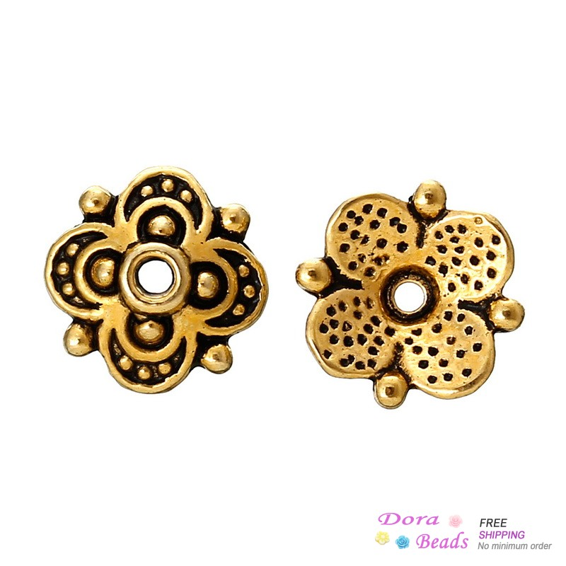 Bead Caps Flower Gold Tone(Fits 10mm Beads) 10mm x 9.7mm,Hole:Approx 1.5mm,300PCs (B36470) 8years