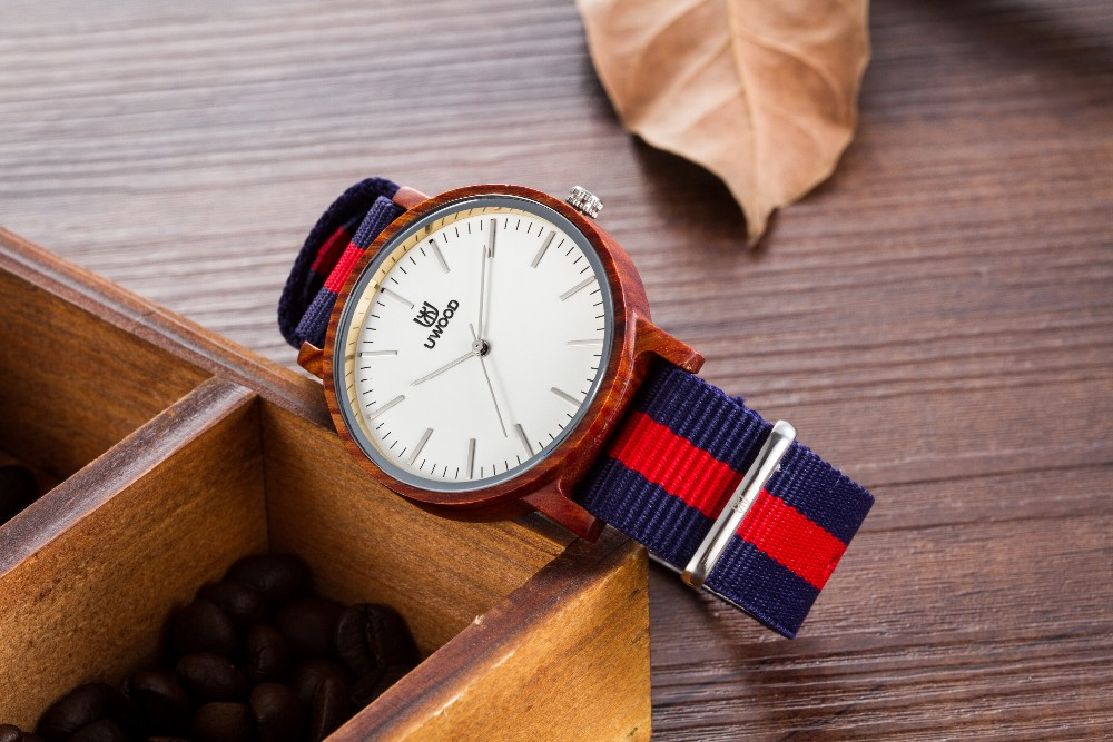 2016 Новые Деревянные Часы Натурального Бамбука Деревянные Повседневная Наручные Часы С Мода Теплые Нейлон Группа Древесины Часы для Мужчин и Женщин