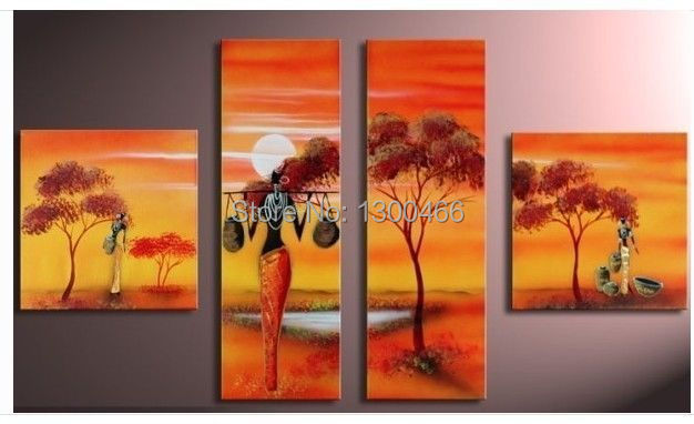 Hand painted 4 canvas paintings african art home decor canvas oil painting for sale in painting Home decor paintings for sale india