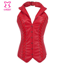 New Red Faux Leather Halter-neck Overbust Gothic Steampunk Corset Corpetes E Espartilhos Plus Size Steel Boned Corsets For Women