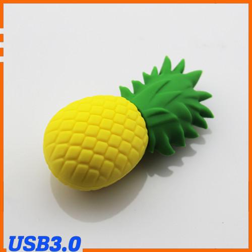 100% Genuine USB Flash Drive cartoon Pineapple shaped memory stick pen drive USB 3.0 8GB 16GB 32GB 64GB pendrive hot sale cheap(China (Mainland))