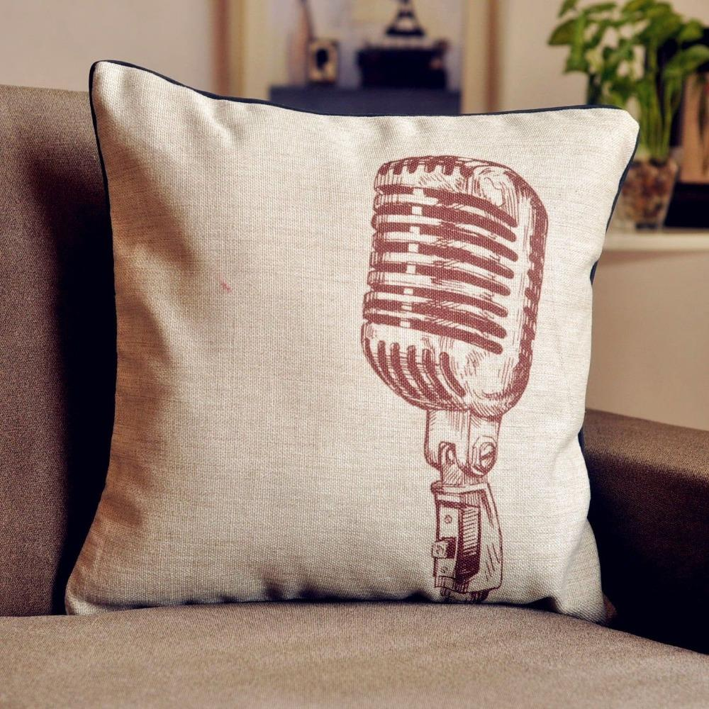 Vintage Retro Microphone cushion cover Linen Pillow  : Vintage Retro Microphone cushion cover Linen Pillow cushion for car office Home Decor sofa cushions 1PCS from www.aliexpress.com size 1000 x 1000 jpeg 186kB