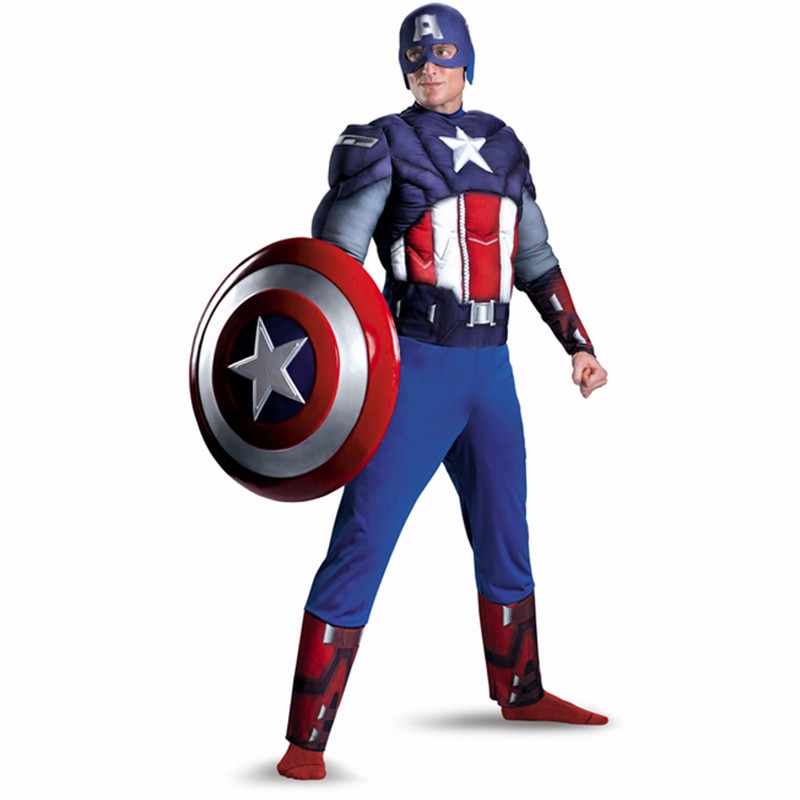 High-quality Adult Men Captain America Muscle Costume male Avengers cosplay Movie muscle superman costumes for Halloween