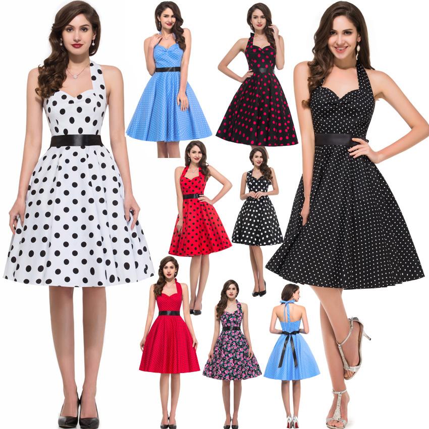 New Summer Desigual Women Cotton Casual Retro Vintage 50s Rockabilly Swing Pinup Floral Print Polka Dot Dress Dance Dresses 4599(China (Mainland))