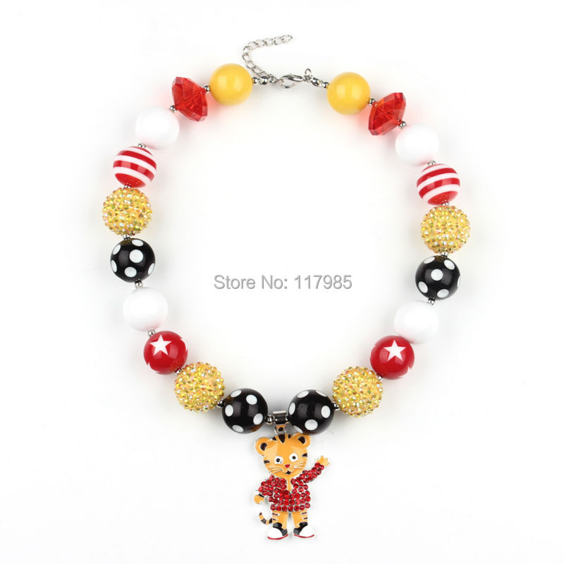 2Pcs/lot 20mm Red Yellow Gumball Beaded Necklace Animal Tiger Pendant Kids Girls Chunky Bubblegum Necklace(China (Mainland))