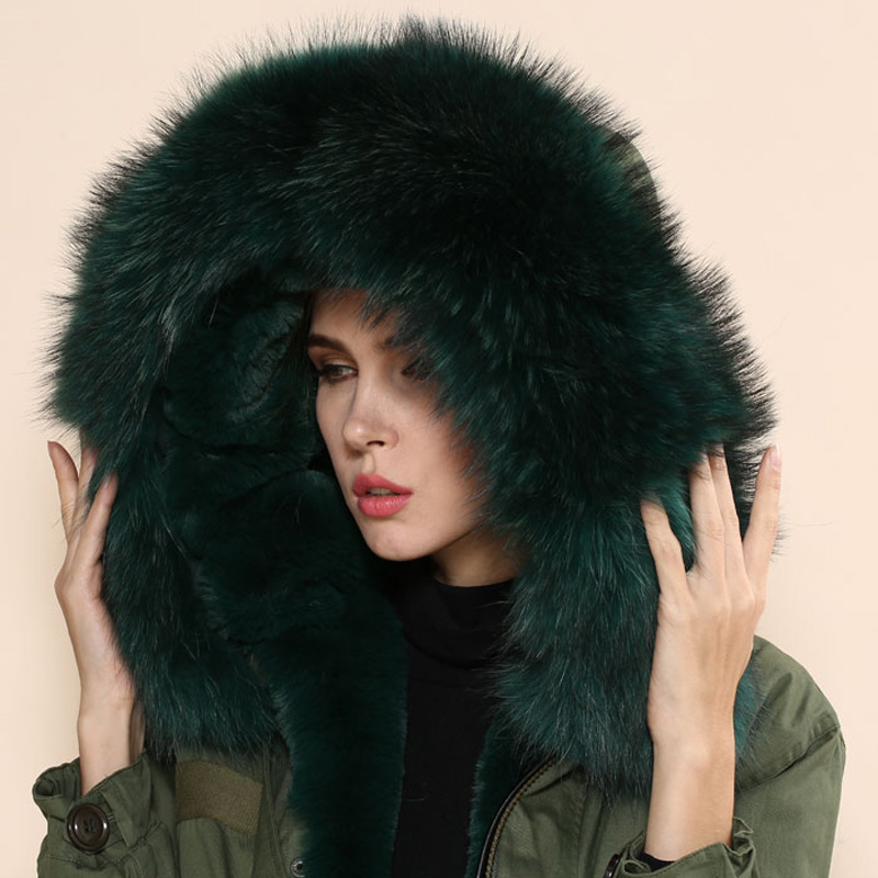 Dark green elegant real fur Mrs collar coat big army parka 2017 W/W coats  -  foxfurs store