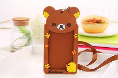 1X SAN-X Rilakkuma Bear 12*6CM NECK Rope BUS ID Card Holder Case Pouch BAG Holder Case ; ID Message PAD Case Holder(China (Mainland))
