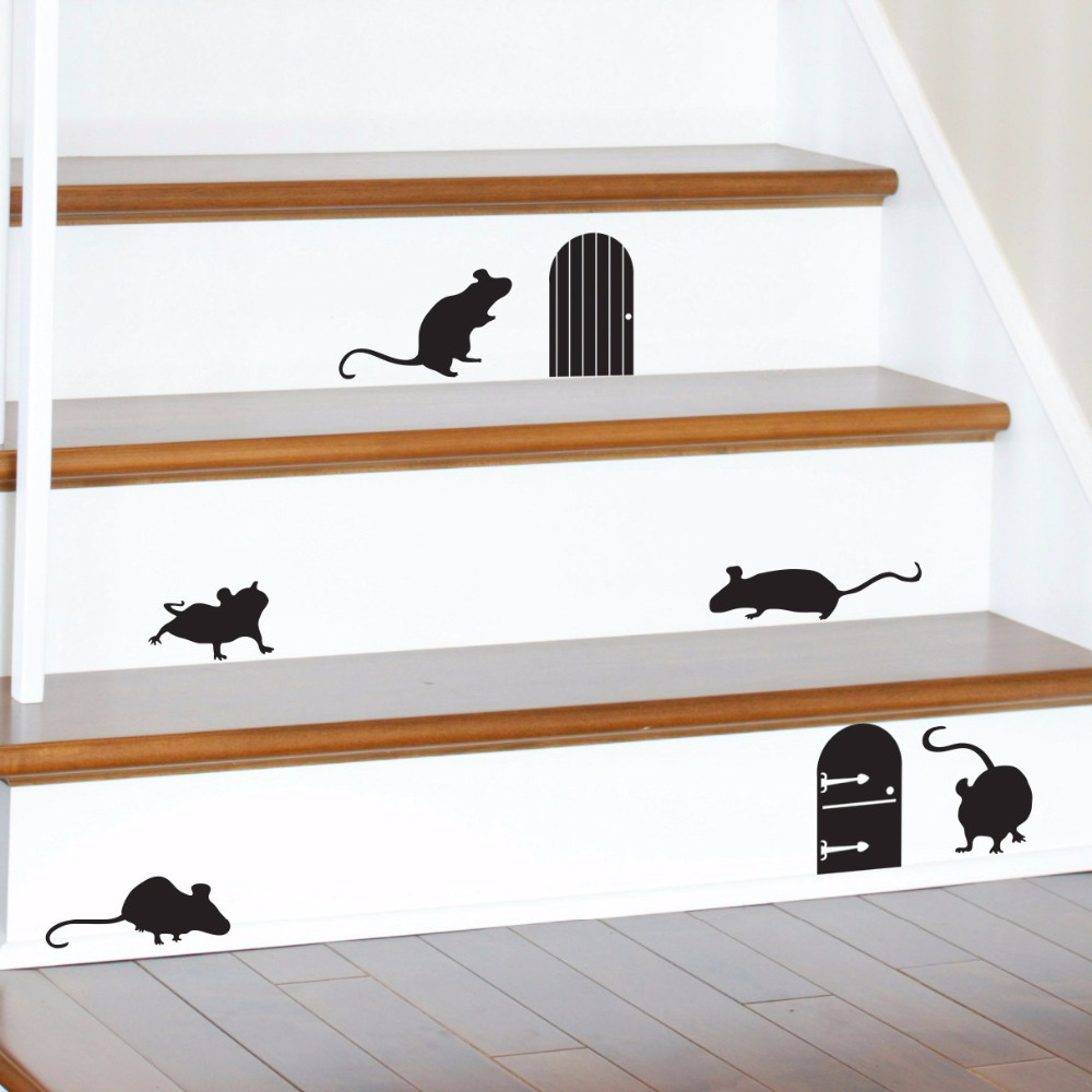 Happy Halloween Animal Mice Doors Silhouettes Living Room Vinyl Carving Wall Decal Sticker for Holiday Party Home Window Decor(China (Mainland))
