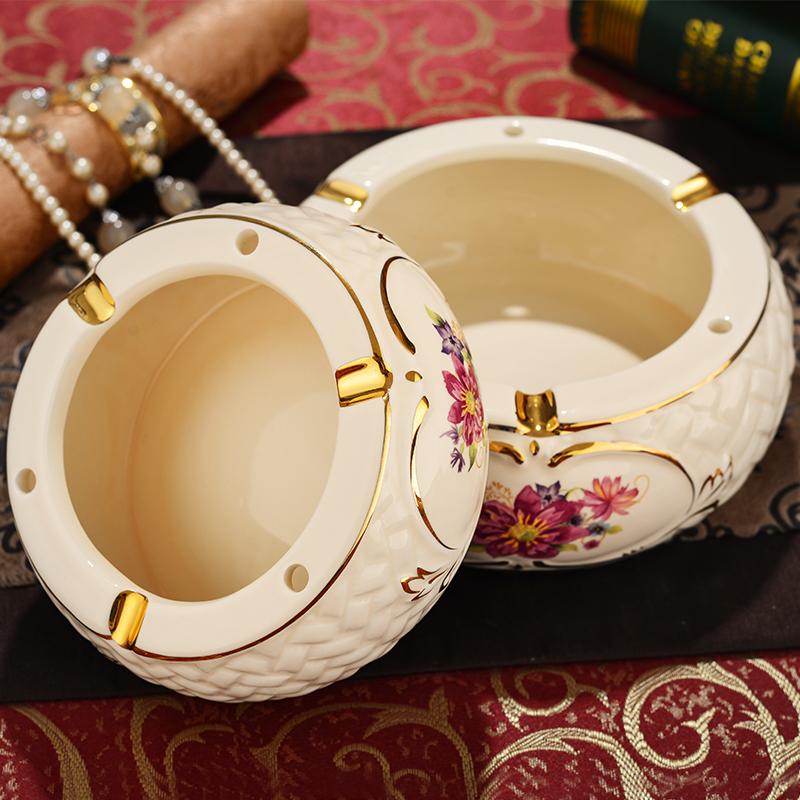 YOU LAIFU Ceramic luxury ashtray decoration vintage fashion cigar personalized two size round ashtray Smoking Accessories(China (Mainland))