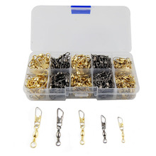 260pcs Ball Bearing Barrel Fishing Swivel With Safety Snap Fishing Swivel Set