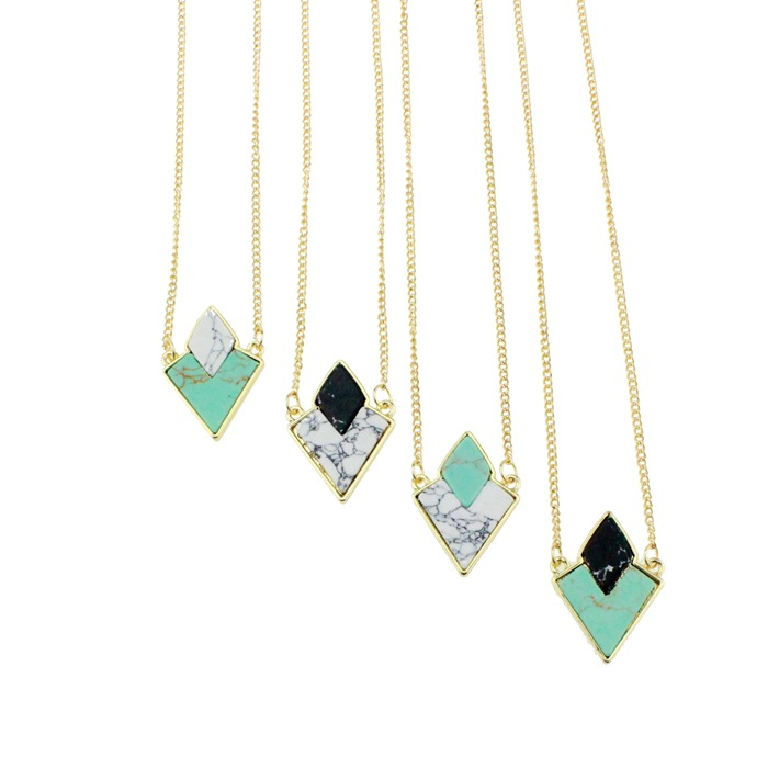 2016 Brand Design Collier Turquoise Faux Marble Stone Geometric Pendant Necklaces Women Gold Plated Chain Necklace Fine Jewelry(China (Mainland))