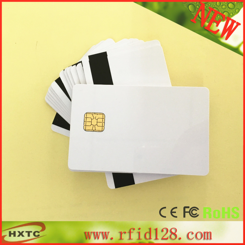 50PCS/Lot Sle4428 with Hi_Co Magnetic Stripe 2 in 1 Chip White Smart Memory PVC Card For ACR32 Reader Writer(China (Mainland))