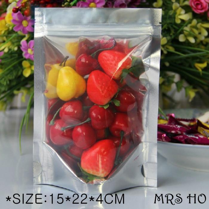Bolsas De Papel Wholesale High Quality 100pcs/lot 15*22*4cm Individual Food Button Closure Self Sealing Packing Plastic Bag(China (Mainland))