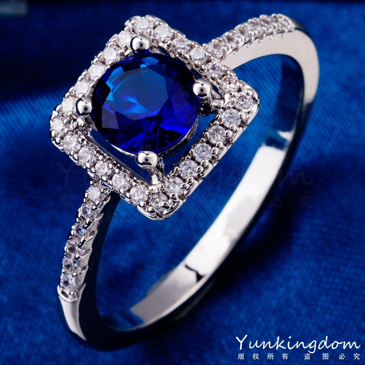 Classic hollow out design Fashion Blue CZ Diamond Rings Real white Gold plated high-end Brand jewelry H0512(China (Mainland))