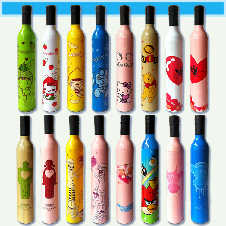 High Quality Designer Personalized Clear Rain Umbrellas!Cute Compact Manual 3 Folding Wine Bottle Umbrellas&Paraguas For Sale(China (Mainland))