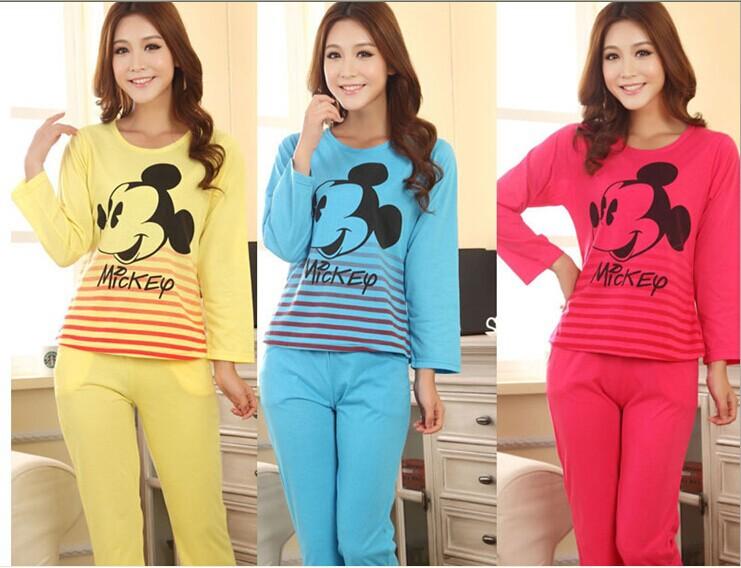 Limited Promotion Freeshipping Full Nightgown Pyjamas Women Pyjamas Ms Age Season Long Sleeve Lovely Mickey Cotton Pajamas(China (Mainland))