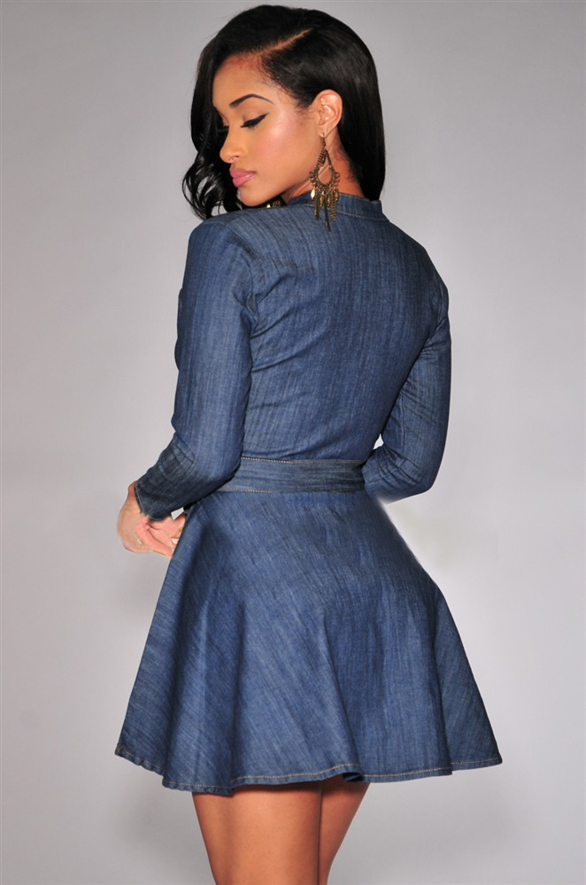 Awesome Womens Dress Korean Style Women Lapel Long Sleeve Pocket Denim Dress