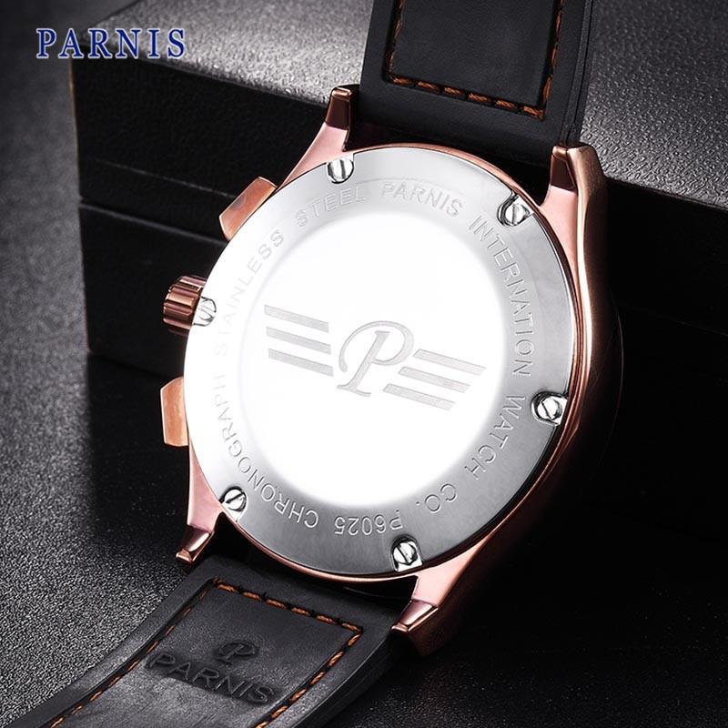 43 мм Parnis мужские Часы Сапфировое стекло Кофе Циферблат с Серебряной Марки Хронограф Кварцевый Механизм Наручные Часы