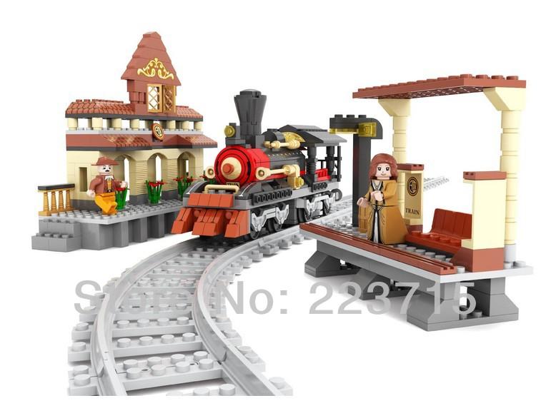 *Village Train Station blocks set* DIY enlighten block bricks,Compatible With other Assembles Particles<br><br>Aliexpress
