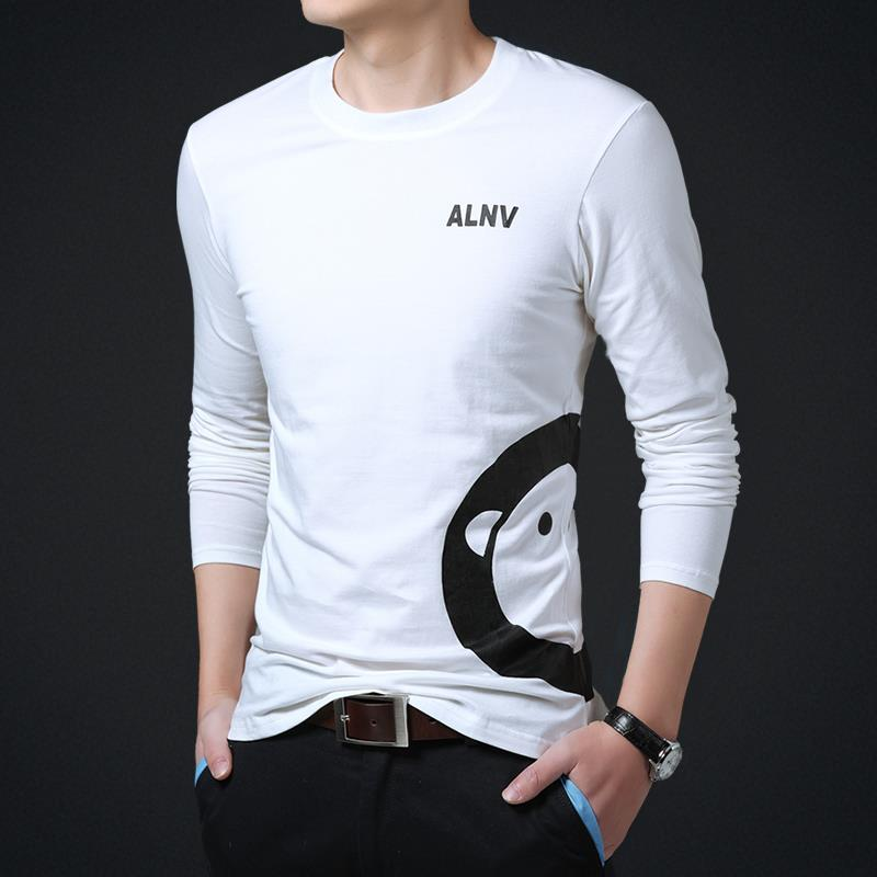 Mens T Shirts Fashion 2015 Full Sleeve O Neck Print Solid