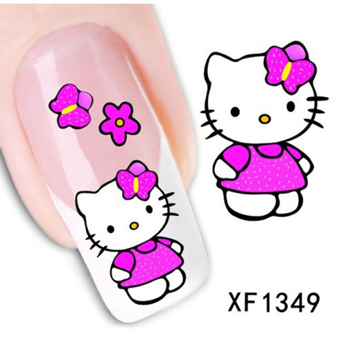 [T-XF1349]New Fashion Lovely Cute Cat DIY Water Transfer Nail Art Stickers Decals Wraps Salon Beauty Manicure Styling Tools(China (Mainland))