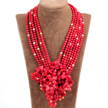Splendid Design Multi Strands Red Coral Flower Party Woman Statement Necklace(China (Mainland))
