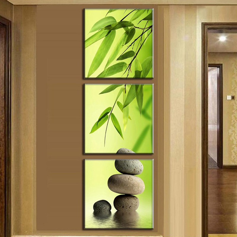 Three Pcs/Set Canvas Still Life painting Bamboo and Stone vertical forms Canvas Prints Wall Pictures art for Living Room Picture(China (Mainland))