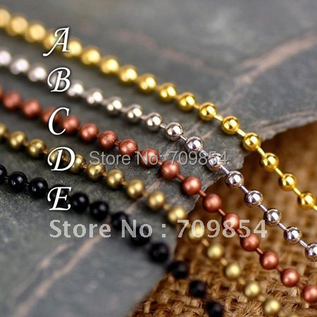 Здесь можно купить  free shipping!!!  2.4mm Bead Chain 5 Color Plated Ball Chain With Connector Clasps (you can pick color)jewelry findings  Ювелирные изделия и часы