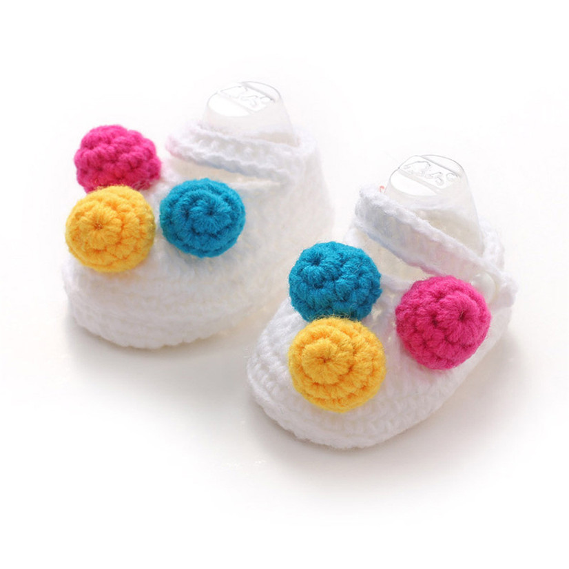 Delicate Hot! Ball ornament Baby Girls Crochet Handmade Knit Shoes White Ma21(China (Mainland))