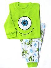 boy fashion long sleeve green monster pajama sets sets infantis sports suit retail free shipping