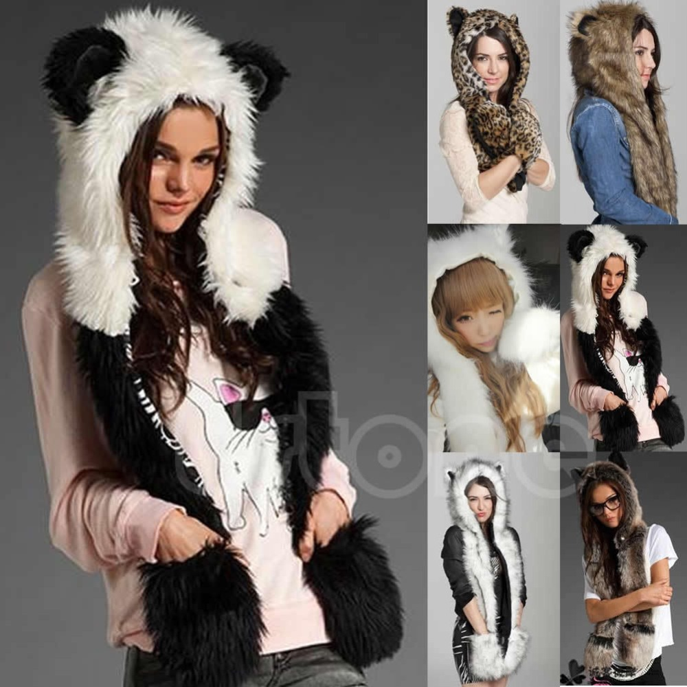 Гаджет  Winter Faux Fur Hood Animal Hoods Hat Cap Cartoon Plush Hats With Scarf Paws Sets Warm Caps Beanies Cartoon Skunk Panda Wolf Hat None Одежда и аксессуары