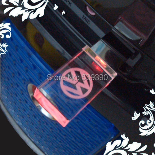 Crystal Transparent LED With Volkswagen's VW Logo 2GB-32GB Car USB Flash 2.0 Memory Drive Stick Pen/Thumb/Car Free Shipping(China (Mainland))