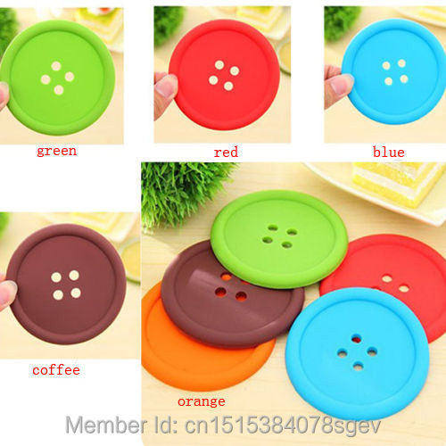 5Pcs Colorful Cute Drink Holder Placemat Button Coaster Cup Mat Silicone(China (Mainland))